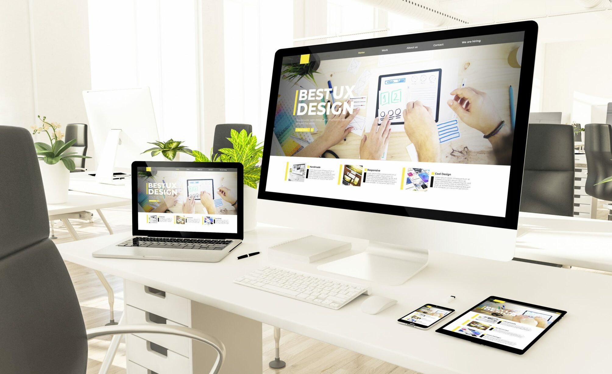 Digitalbyrå i Stockholm - responsive devices with ux design website in loft office mockup
